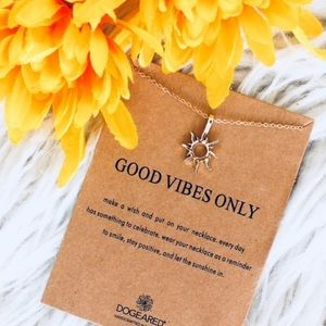 Dainty gold sun good vibes only necklace